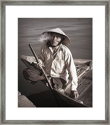Framed Print featuring the photograph Cigar Man by Kim Andelkovic