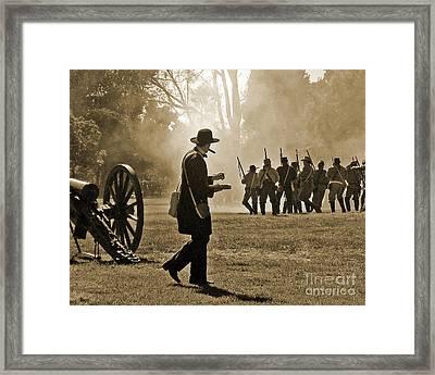 Framed Print featuring the photograph Cigar Man - U.s. Civil War Reenact by Cheryl Del Toro