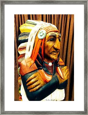 Cigar Store Indian Framed Print by Barbara Snyder