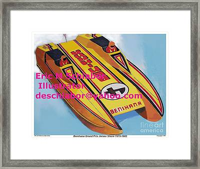 Cigarett Power Boat Illustration Framed Print by Eric  Schiabor