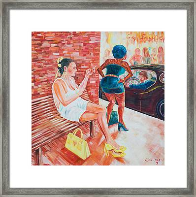 Framed Print featuring the painting Cigarette Break by Giovanni Caputo