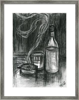 Cigarettes And Alcohol Framed Print by Roz Abellera Art
