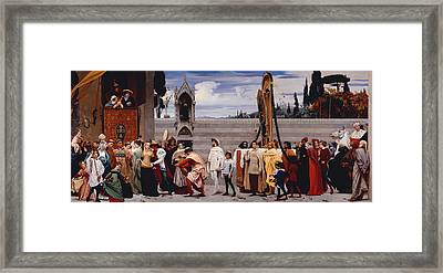Cimabues Celebrated Madonna Is Carried In Procession Through The Streets Of Florence Framed Print by Frederic Leighton