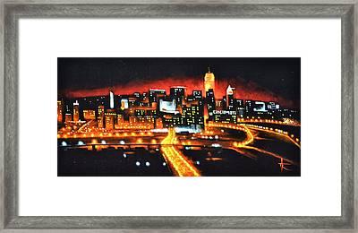 Cincinati Skyline Framed Print by Thomas Kolendra