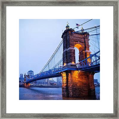 Cincinnati And Robeling Suspension Bridge At Twilight Framed Print by Tanya Harrison