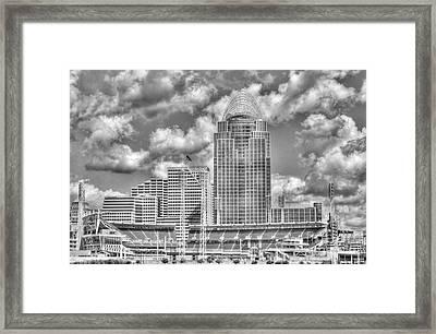 Cincinnati Ballpark Clouds Bw Framed Print by Mel Steinhauer