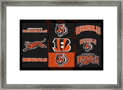 Cincinnati Bengals Uniform Patches Framed Print by Joe Hamilton