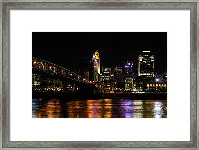Framed Print featuring the photograph Cincinnati By Night by Cathy Donohoue