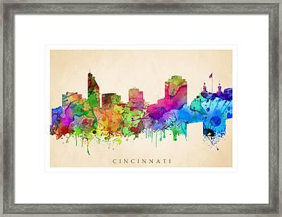 Cincinnati Cityscape Framed Print