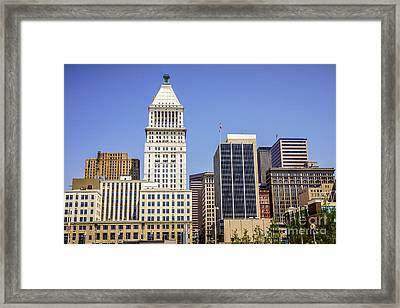 Cincinnati Downtown City Buildings Business District Framed Print by Paul Velgos