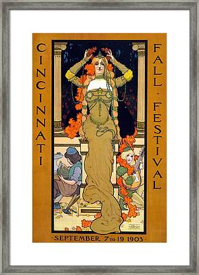 Cincinnati Fall Festival September 7 To 19 1903 Poster For The Festival Showing A Woman Seated  Framed Print by Hugo Grenville