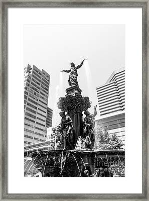 Cincinnati Fountain Black And White Picture Framed Print