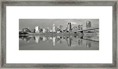 Cincinnati Grayscale Panorama Framed Print by Frozen in Time Fine Art Photography
