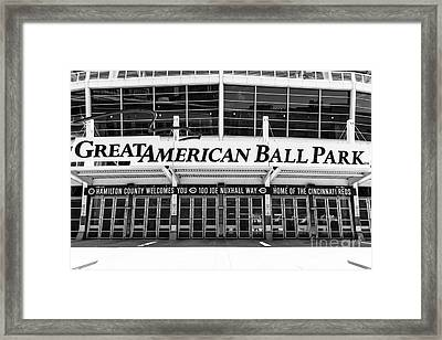 Cincinnati Great American Ball Park Black And White Picture Framed Print