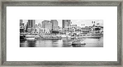 Cincinnati Panoramic Picture In Black And White Framed Print