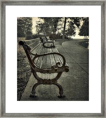 Cincinnati Park Board Bench At Eden Park Framed Print