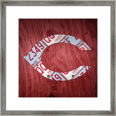 Cincinnati Reds Baseball Vintage Logo License Plate Art Framed Print by Design Turnpike