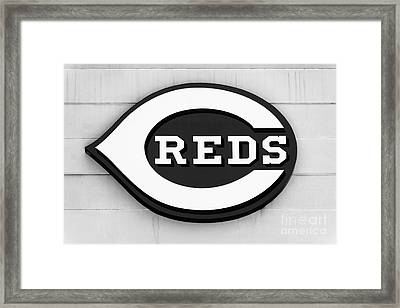 Cincinnati Reds Sign Black And White Picture Framed Print by Paul Velgos