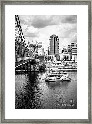 Cincinnati Riverfront Black And White Picture Framed Print