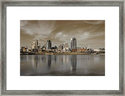 Cincinnati Riverfront Framed Print by Diana Boyd