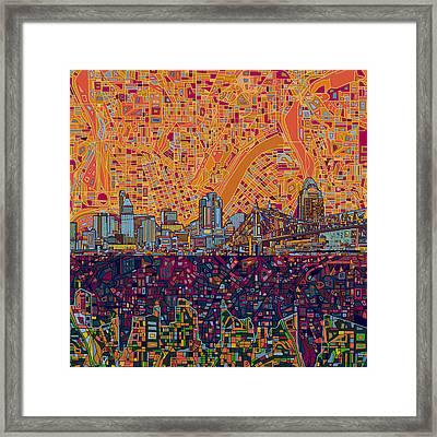 Cincinnati Skyline Abstract 3 Framed Print