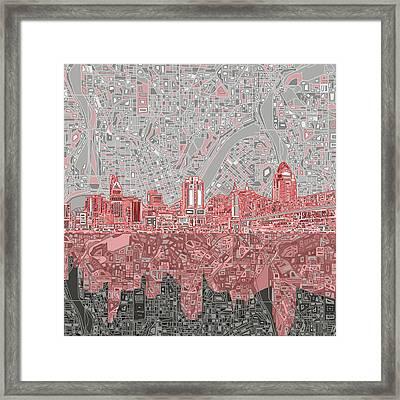 Cincinnati Skyline Abstract 4 Framed Print