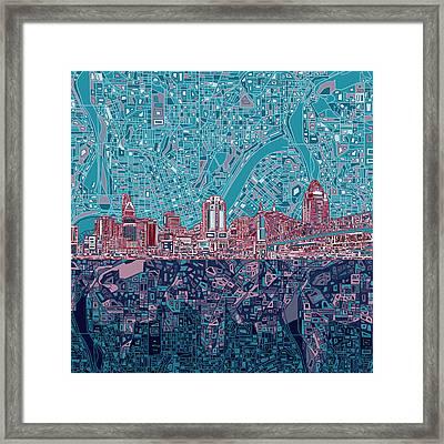 Cincinnati Skyline Abstract 6 Framed Print