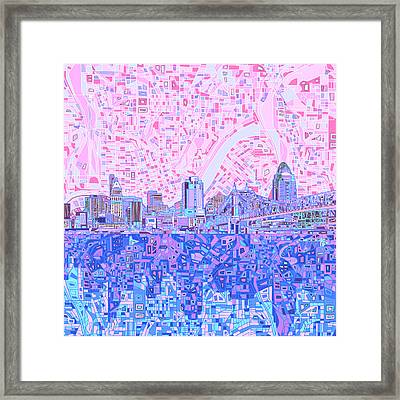 Cincinnati Skyline Abstract Framed Print by Bekim Art