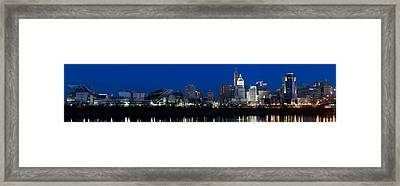 Cincinnati Skyline And John A. Roebling Framed Print