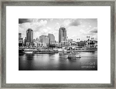Cincinnati Skyline And Riverboat Black And White Picture Framed Print by Paul Velgos