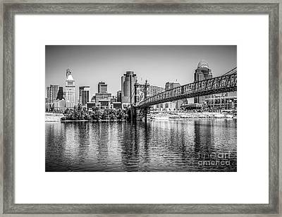 Cincinnati Skyline And Roebling Bridge Black And White Picture Framed Print