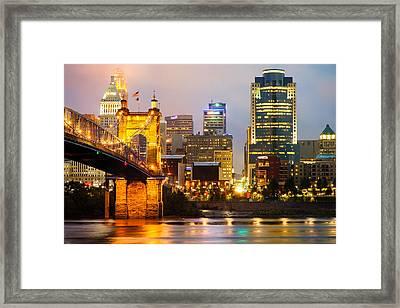 Cincinnati Skyline And The John A. Roebling Suspension Bridge Framed Print by Gregory Ballos