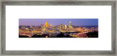Cincinnati Skyline At Dusk Sunset Color Panorama Ohio Framed Print