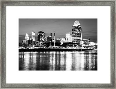 Cincinnati Skyline At Night Black And White Picture Framed Print