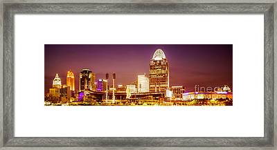 Cincinnati Skyline At Night Panoramic Picture Framed Print