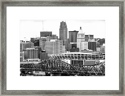 Cincinnati Skyline Black And White Picture Framed Print by Paul Velgos