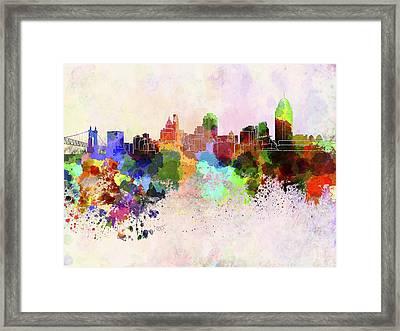 Cincinnati Skyline In Watercolor Background Framed Print