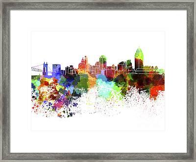 Cincinnati Skyline In Watercolor On White Background Framed Print by Pablo Romero