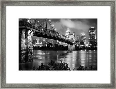 Cincinnati Skyline - John Roebling Bridge And Ohio River Framed Print by Gregory Ballos