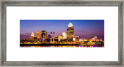 Cincinnati Skyline Night Panorama Photo Framed Print