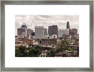 Cincinnati Skyline Old And New Buildings Framed Print by Paul Velgos