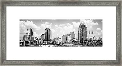 Cincinnati Skyline Panorama Black And White Photo Framed Print by Paul Velgos