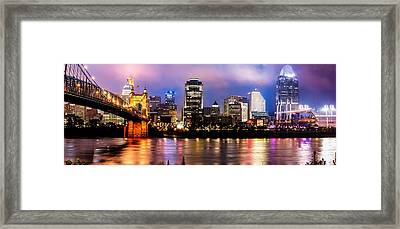 Cincinnati Skyline Panorama Framed Print by Gregory Ballos