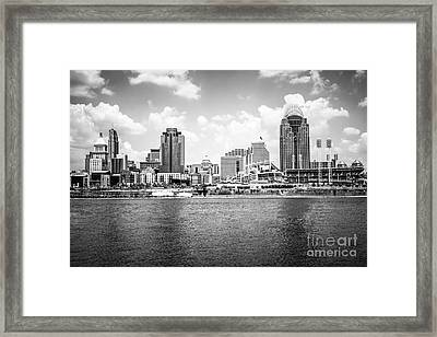 Cincinnati Skyline Photo In Black And White Framed Print by Paul Velgos