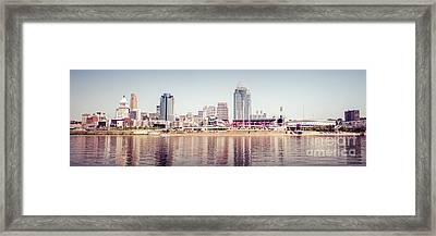 Cincinnati Skyline Retro Panorama Photo Framed Print by Paul Velgos