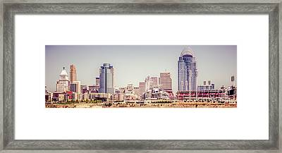Cincinnati Skyline Retro Panorama Picture Framed Print