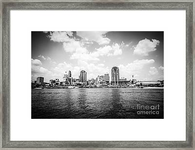 Cincinnati Skyline Riverfront Black And White Picture Framed Print by Paul Velgos