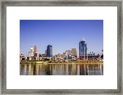 Cincinnati Skyline Riverfront Downtown Office Buildings Framed Print by Paul Velgos