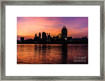 Cincinnati Skyline Sunset At Night Framed Print by Paul Velgos