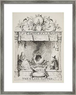 Cinderella And The Glass Slipper Framed Print by British Library